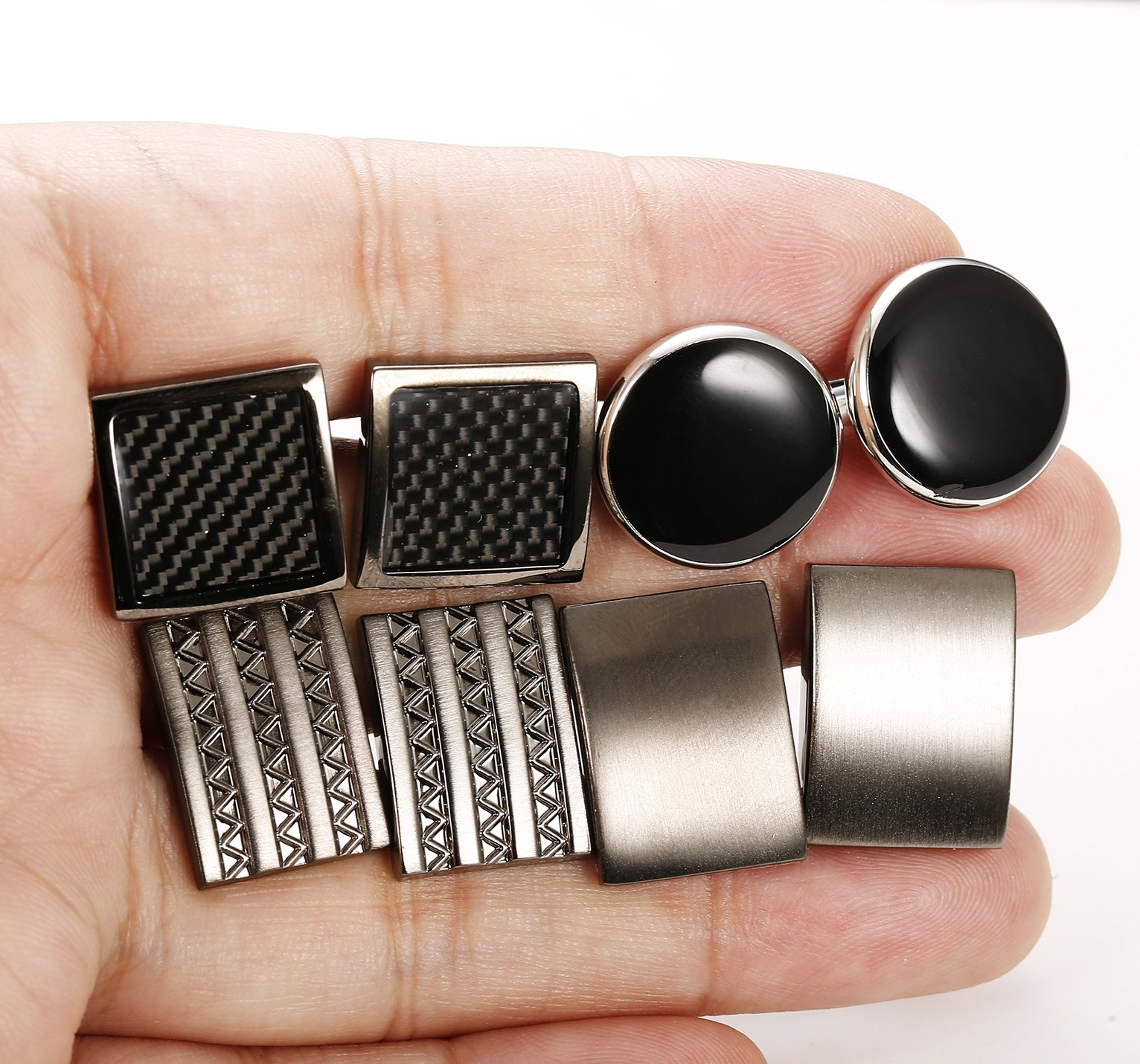 FIBO STEEL Class Cufflinks for Men Black Unique Wedding Cufflink Set Mens Dad Birthday Gifts by FIBO STEEL (Image #7)