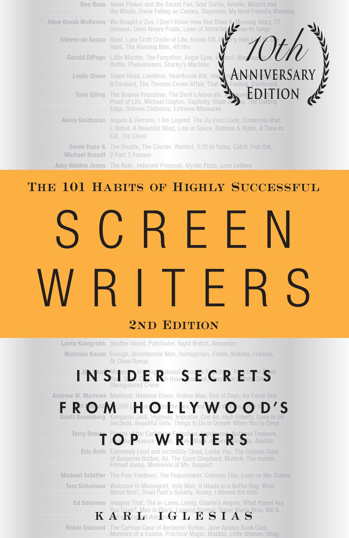 The 101 Habits of Highly Successful Screenwriters, 10th Anniversary  Edition: Insider Secrets from Hollywood's Top Writers: Karl Iglesias:  0045079527898: ...