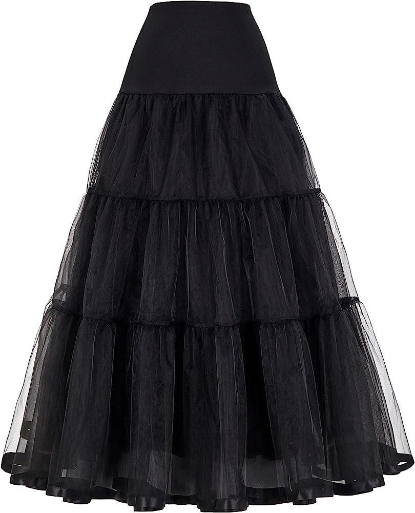 Mujer Tutu neto de la falda Vintage negro largo enagua JS0421-1M ...