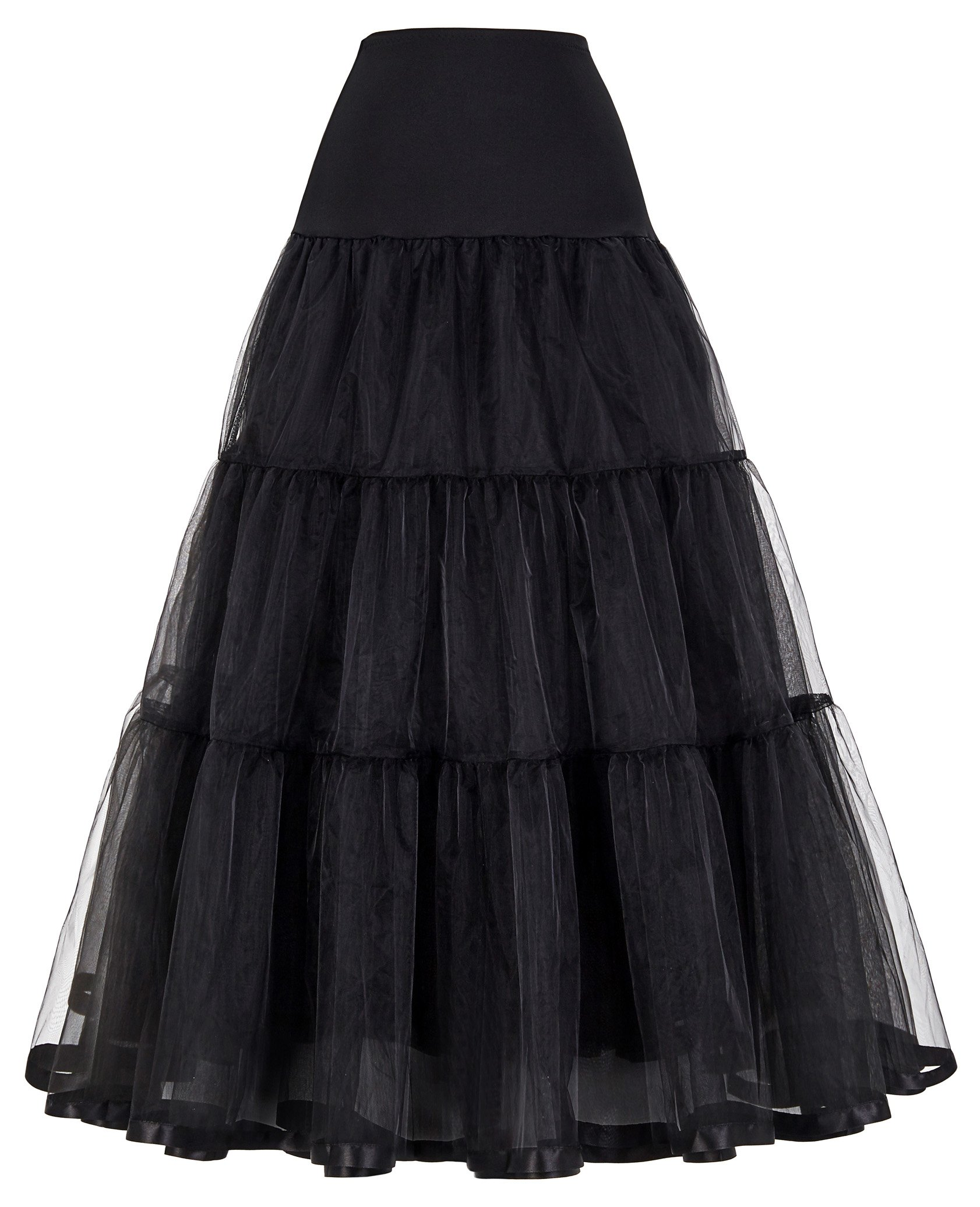 GRACE KARIN Plus Size Hoopless Bridal Tiered Crinoline Petticoat for Ball Gown (3X,Black)