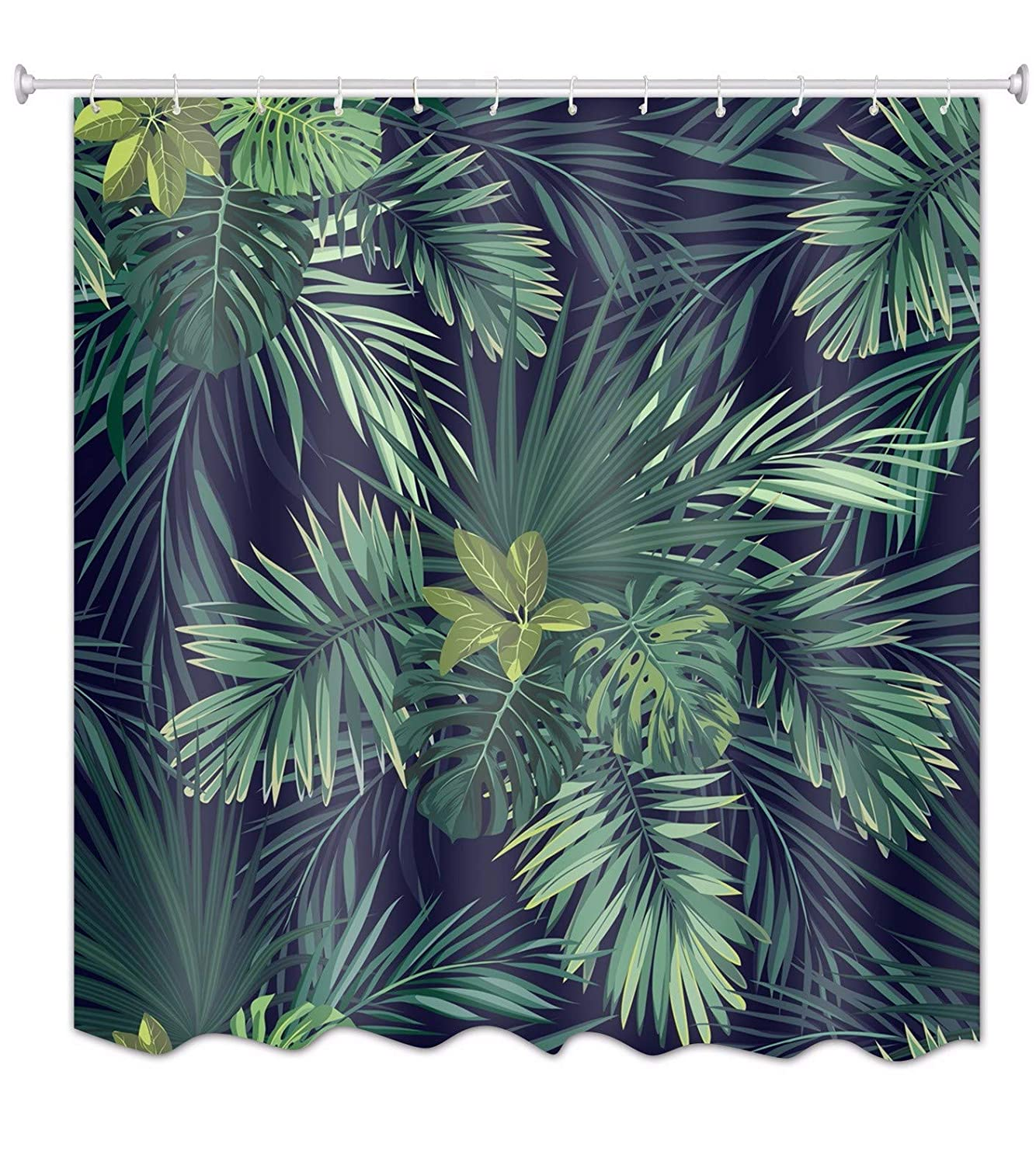 A.Monamour White Backgrounds Green Tropical Palm Tree Leaves Print Waterproof Mildew Resistant Fabric Polyester Shower Curtain for Bathroom Decors 12Pcs Curtain Hooks Included 150x180 cm 60x72