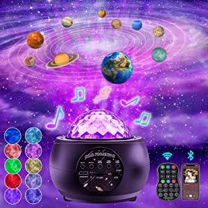 Galaxy Star Night Light Projector - FPVERA LED Nebula Starry Sky Cloud Ceiling Lights Projector 360° Rotating Bluetooth Ocean Wave Planet Projector with Music Speaker for Baby Kids Bedroom/Room Decor