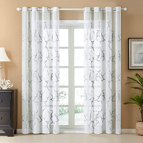 Top Finel White Sheer Curtains 96 Inches Long Grey Embroidered Branch Grommet Window Curtains for Living Room Bedroom, 2 Panels