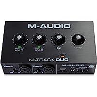 M-Audio - M-Track Duo Interfaz de audio USB para grabación, transmisión y podcasting con entradas dobles XLR, línea y DI…