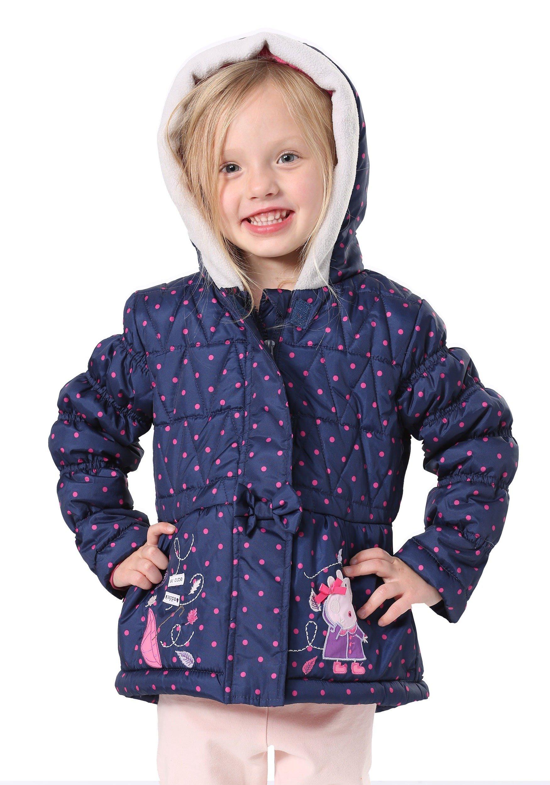 Peppa Pig Toddler Girls' Printed Polka Dot Puffer Coat, Blue, 2T