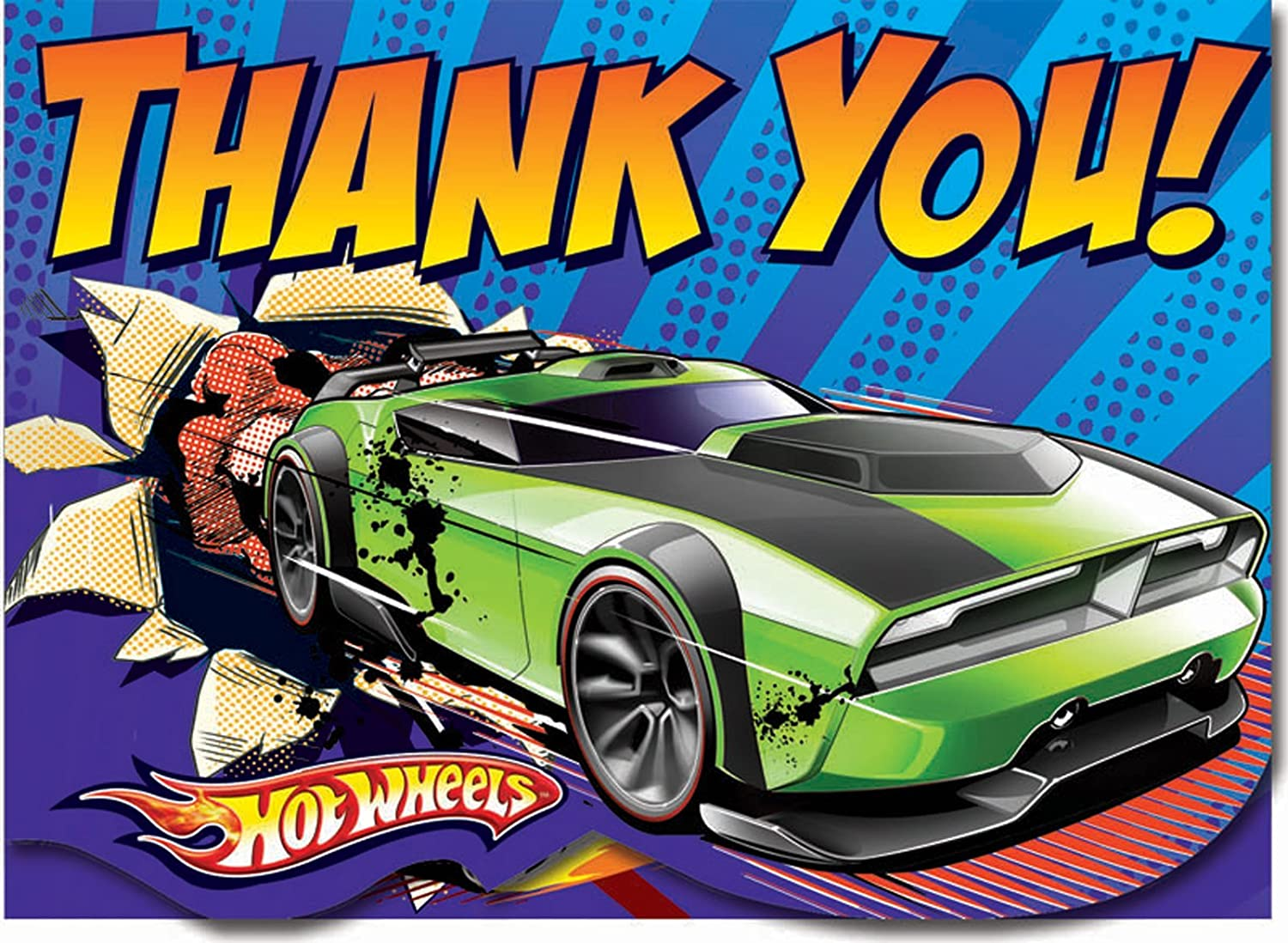 8-Count Discontinued by Manufacturer Amscan Hot Wheels Speed City 4 x 5 Folded Thank You Cards
