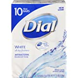 Dial Antibacterial Deodorant Bar Soap, White, 4 Ounce Bars, 10 Count