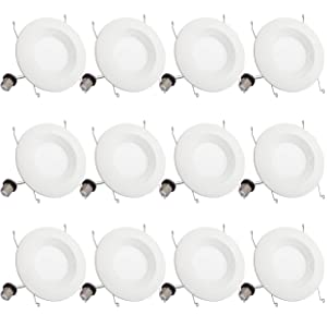 "12 Pack 5""/6"" Dimmable Led Recessed Downlight 3000K Warm White BBounder 1000LM 13W (120W Replacement) UL and Energy Star Certified Quick Easy Can Install"