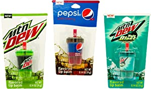 Novelty Soda Cup Lip Balms (3 Pack) Moutain Dew and Pepsi Flavors