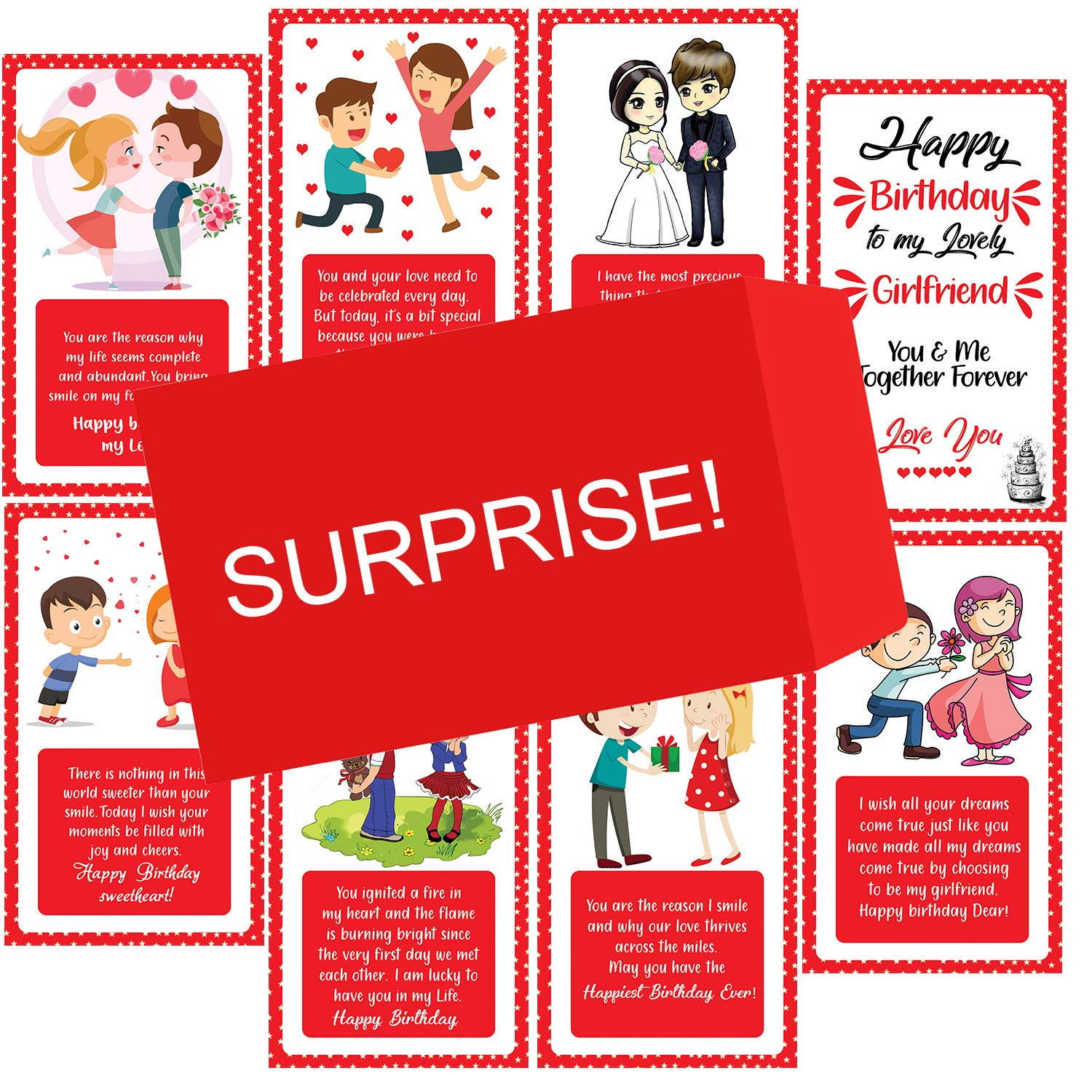 Oddclick Happy Birthday Girlfriend Set Of 10 Surprise Wishes Card For Girlfriend Greeting Card Red Pack Of 10 Amazon In Home Kitchen