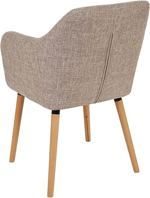 Mendler 6X Esszimmerstuhl Malmö T381, Stuhl Küchenstuhl, Retro 50er Jahre Design ~ Textil, Cremegrau, helle Beine