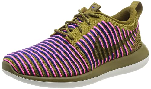 7f2f21530ca4 Image Unavailable. Image not available for. Colour  Nike Women s Roshe Two  Flyknit Running Shoes Pink Olive 844929 300 Size 7