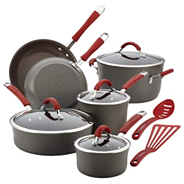 Rachael Ray Cucina Hard-Anodized Aluminum Nonstick Pots and Pans Cookware Set, 12-Piece, Gray, Cranberry Red Handles