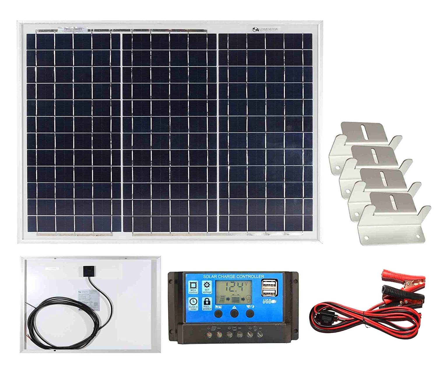 50w Poly-Crystalline Solar Panel with Battery Charging Kit Charger Controller /& Mounting Bracket Set K2