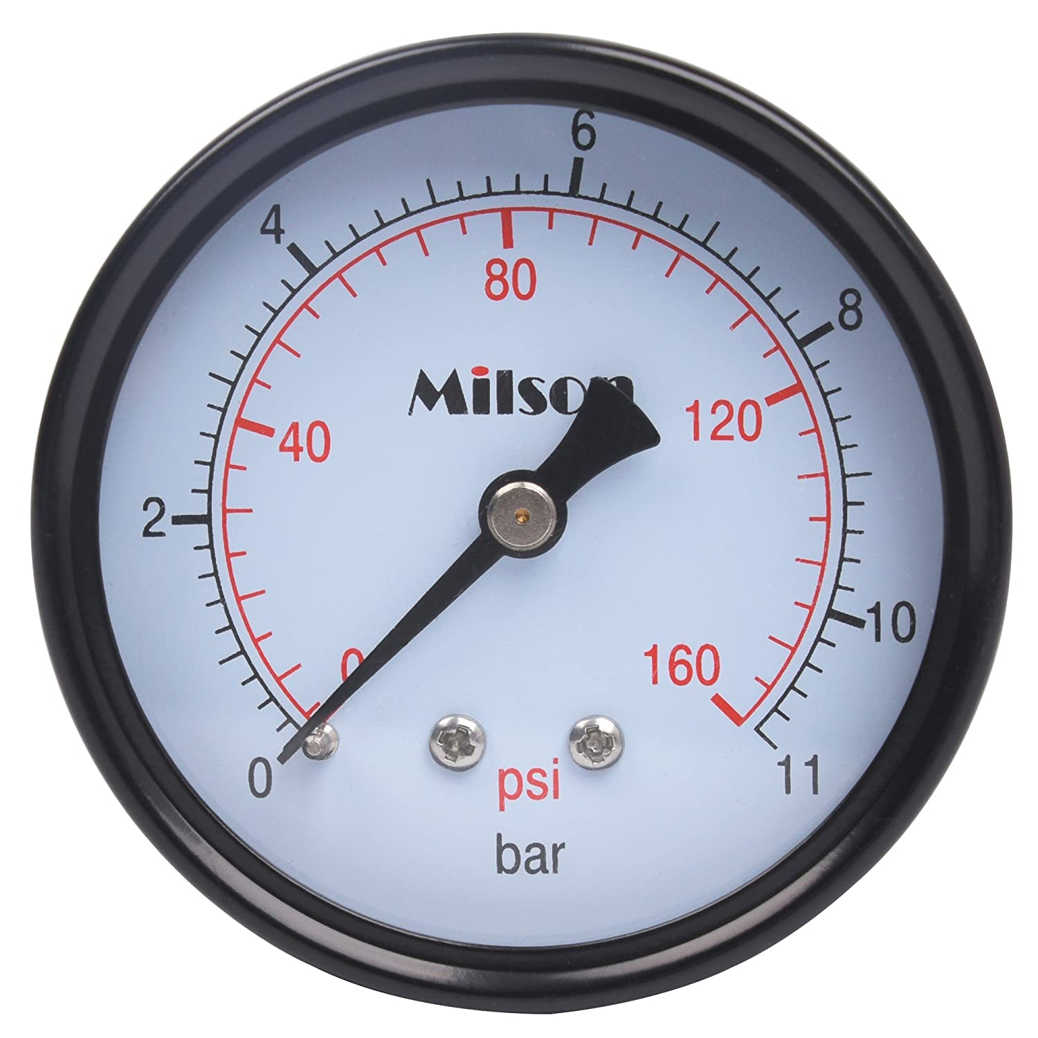Milson Pressure Gauge 2.5 Black Steel Case Back Mount 1 4NPT 0 160 Psi Bar Accuracy 2.0 Brass Internal Multiple Function