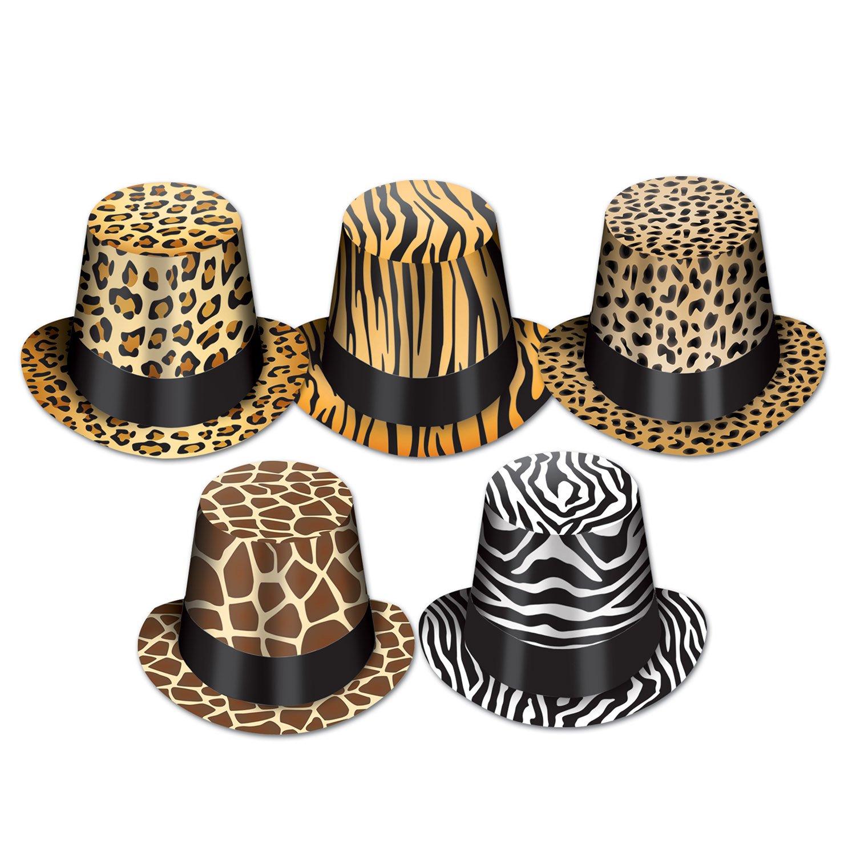 Beistle 25 Animal Print Hi-Hats, Multicolored