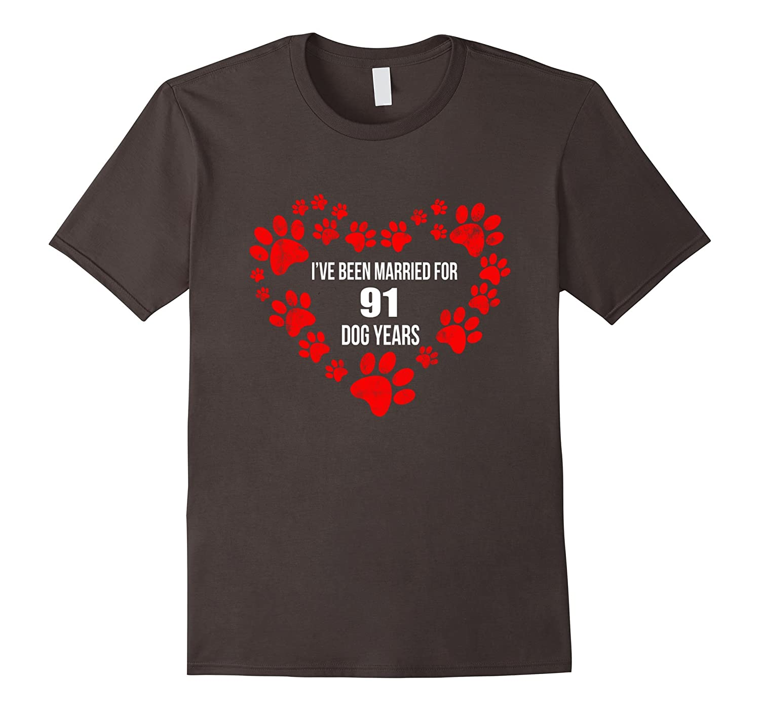 13th Wedding Anniversary Gift Ideas For Her: 13th Wedding Anniversary T-Shirt 91 Dog Years Gift
