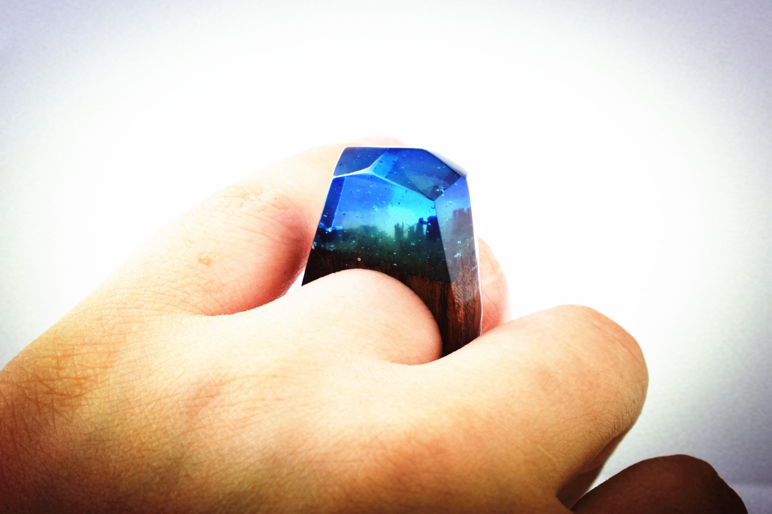 Heyou Love Handmade Wood Resin Ring With Nature Scenery Landscape Inside Jewelry by Heyou Love (Image #5)