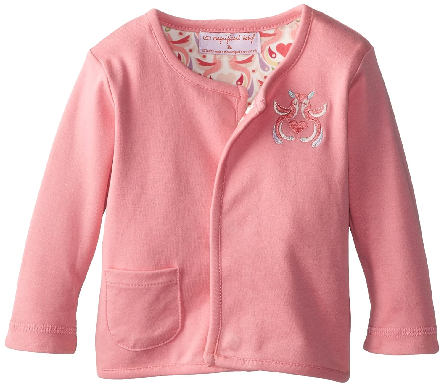 Magnificent Baby Baby-Girls New-Born Lovebird Reversible Cardigan, 3 Months 2212-G