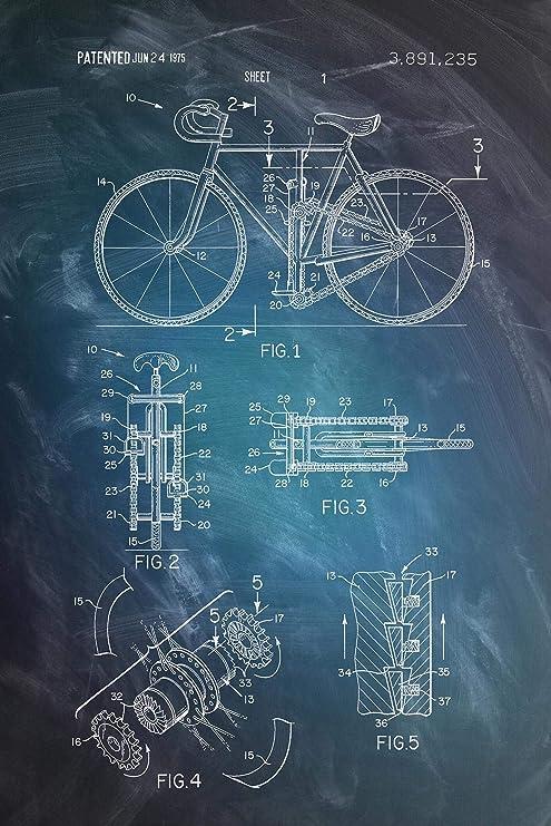 Póster Dibujo de Patente de Bicicleta 1975 [Dimensiones] (61cm x ...