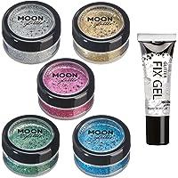 Agitadores de Brillo Holográfico por Moon Glitter - 100% Brillo Brillo Cosmético para la Cara, Cuerpo, Uñas, Cabello y Labios - 5g - Set de 5 colores