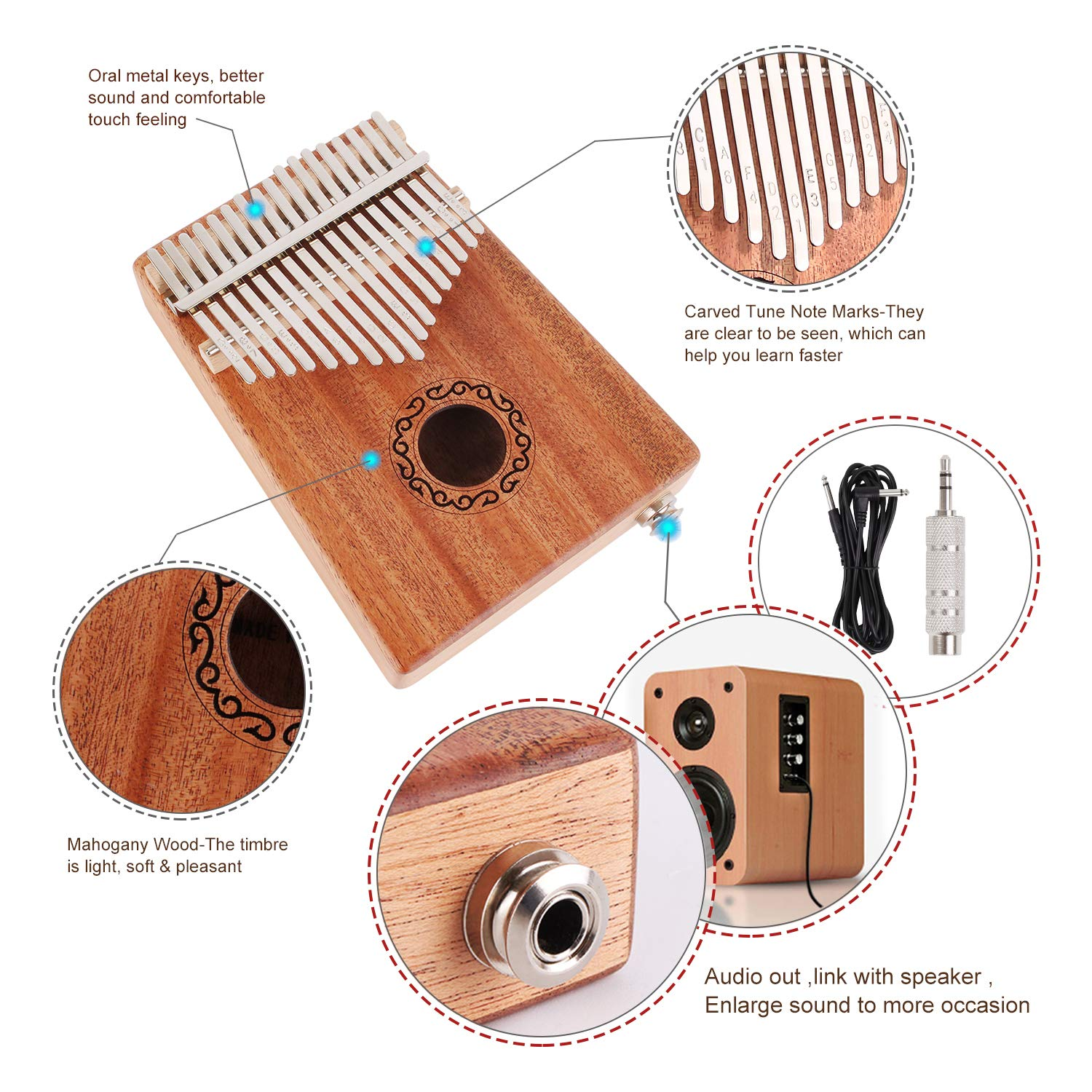 CXhome Electric Kalimba 17 Key Thumb Piano,Mbira African Mahogany Finger Piano Pickup with 6.35mm Audio Interface Sanza Hand Kit, Likembe Musical Instruments for beginners or professioners by CXhome (Image #3)
