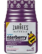 Zarbee's Naturals Children's Elderberry Immune Support* with Vitamin C & Zinc, Natural Berry Flavor, 42 Gummies