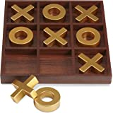 LAURA ASHLEY Elegant Wooden Tic Tac Toe Giant Board Game for Adults and Kids, Jumbo Solid Wood Coffee Table Décor and Games, Classic Oversized with Brown Resin - 10 Piece Set