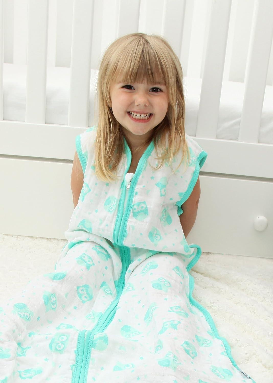 Slumbersac Saco de dormir de verano de muselina para bebé aprox. 0.5 Tog - Mint búho - varios tamaños: desde el nacimiento hasta 6 años Talla:3-6 años: ...