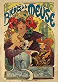 Vintage Beers, Wines and Spirits BEERS DE LA MEUSE, 1897, by Alphonse Mucha 250gsm Gloss Art Card A3 Reproduction Poster