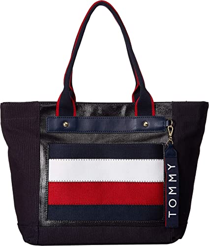 f7ec9b64538c Tommy Hilfiger Women s Classic Tommy Shopper Navy Multi One Size  Handbags   Amazon.com
