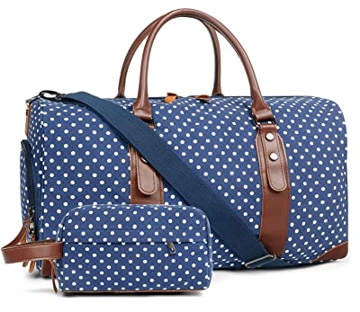 Oflamn Duffle Bag Canvas Leather Weekender Overnight Travel Carry On Tote Bag