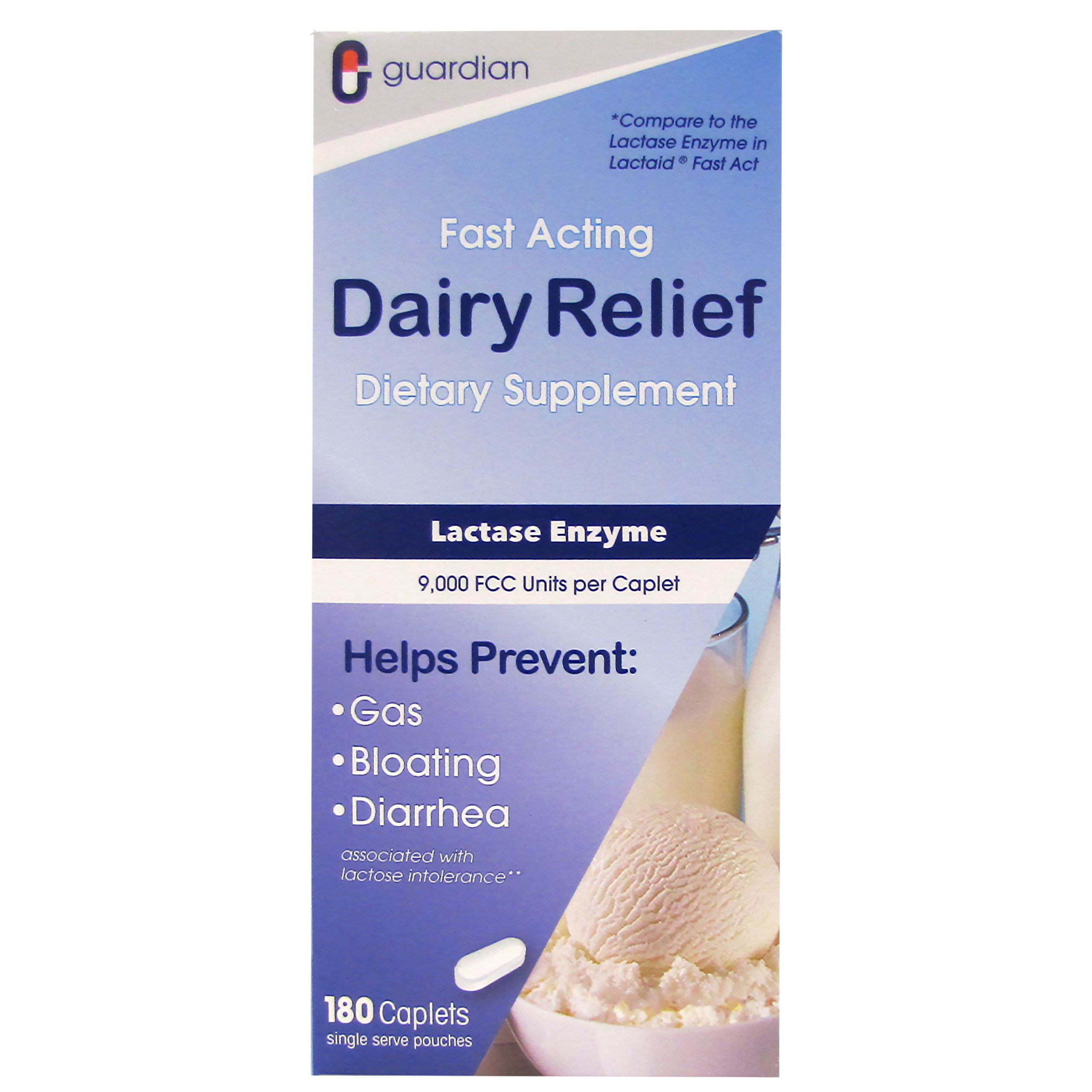 Guardian Dairy Relief Fast Acting Caplets, Lactase Enzyme, 180 CT