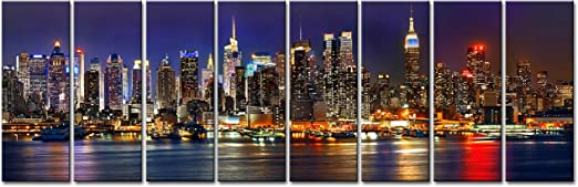 X LARGE CANVAS PICTURE SKYLINE NEW YORK CITY framed art deco