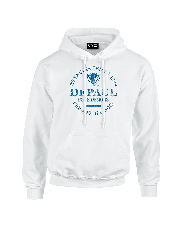 White Hooded Sweatshirt SDI NCAA DePaul Blue Demons 50//50 Blended 8 oz X-Large