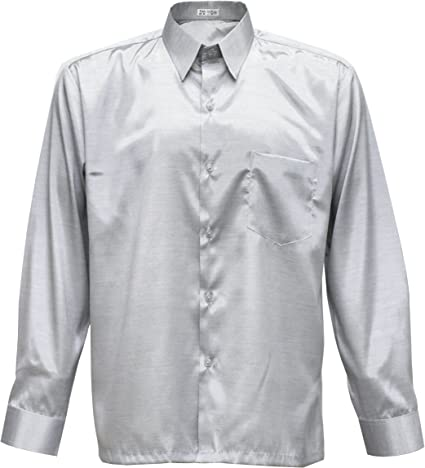 Tashisun Camiseta para Hombre de Manga Larga de Seda tailandesa Plata, Plateado, XXX-Large: Amazon.es: Hogar