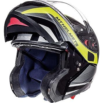 Casco con tapa frontal para motocicleta MT Atom SV Tarmac, Gloss & Matt Black Fluo