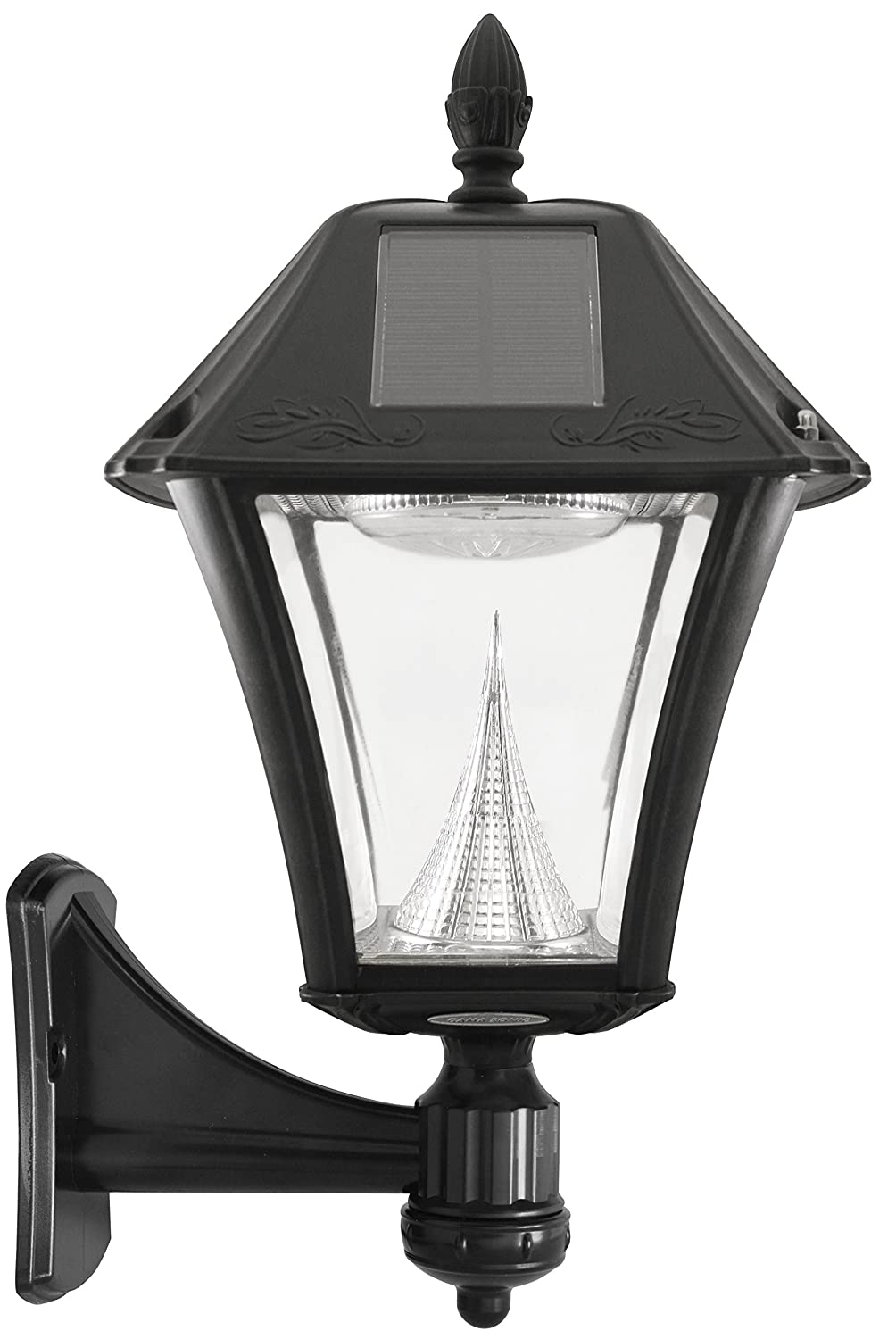 Gama Sonic Baytown Ii Solar Outdoor Lamp With Bright Underground Wiring To Light Post White Leds Pole Pier Wall Mount Kit Black Finish Garden