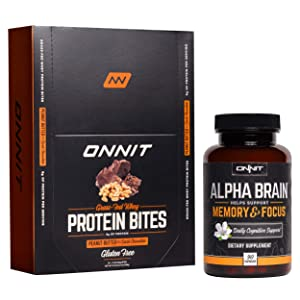 ONNIT Nootropic + Sports Nutrition Stack - Alpha Brain (90ct) + Protein Bites (Chocolate Peanut Butter - 24ct)