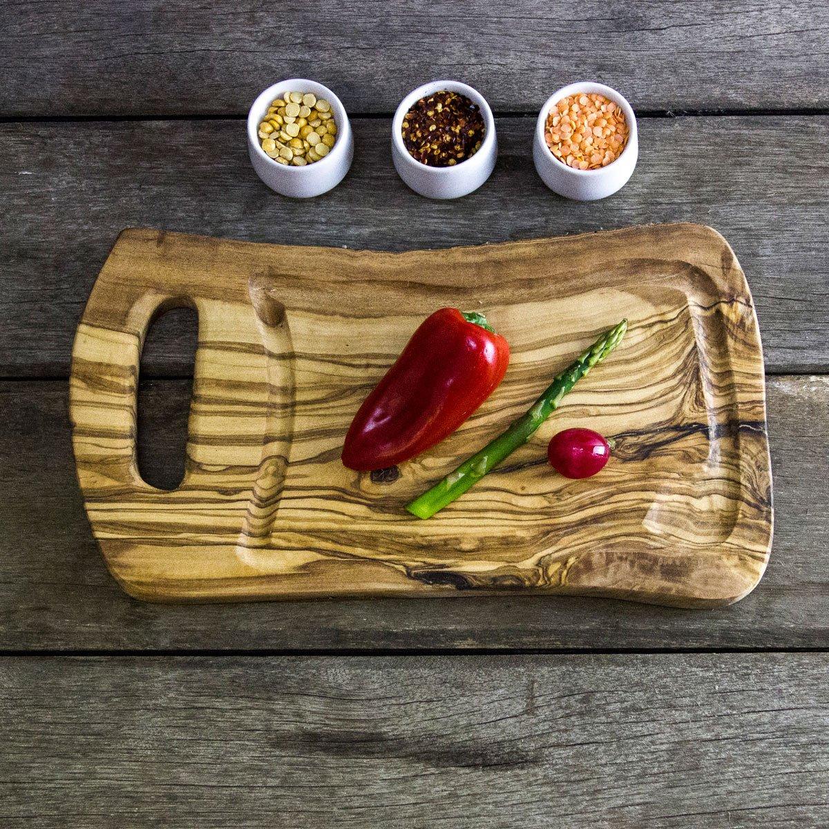 (PNA35) rústico tabla de cortar con madera de olivo de Jus - L 35 cm x W 20 x D 1,75 cm The Rustic Dish - Boards