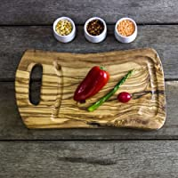 PNA35 - Tagliere rustico in legno di ulivo con scanalatura per succhi, lunghezza 35cm x larghezza 20cm x profondità 2cm