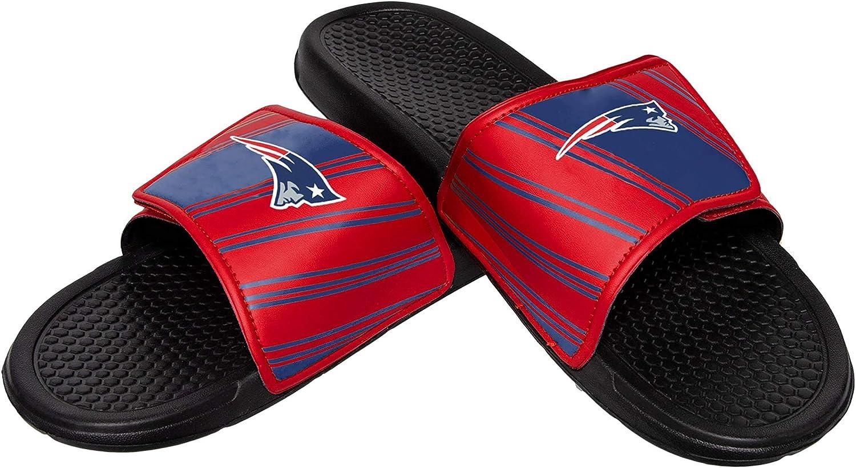 FOCO NFL Mens NFL Stripe Legacy Velcro Sport Slide - Mens