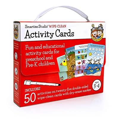 Fun & Educational Wipe-Clean Activity Cards for Preschool and Pre-K Children, Ages 3-4 (50 Activities on 25 Double-sided Cards in Travel Tote w/Built-in Handle, Includes Child-Size Dry-Erase Marker): Toys & Games