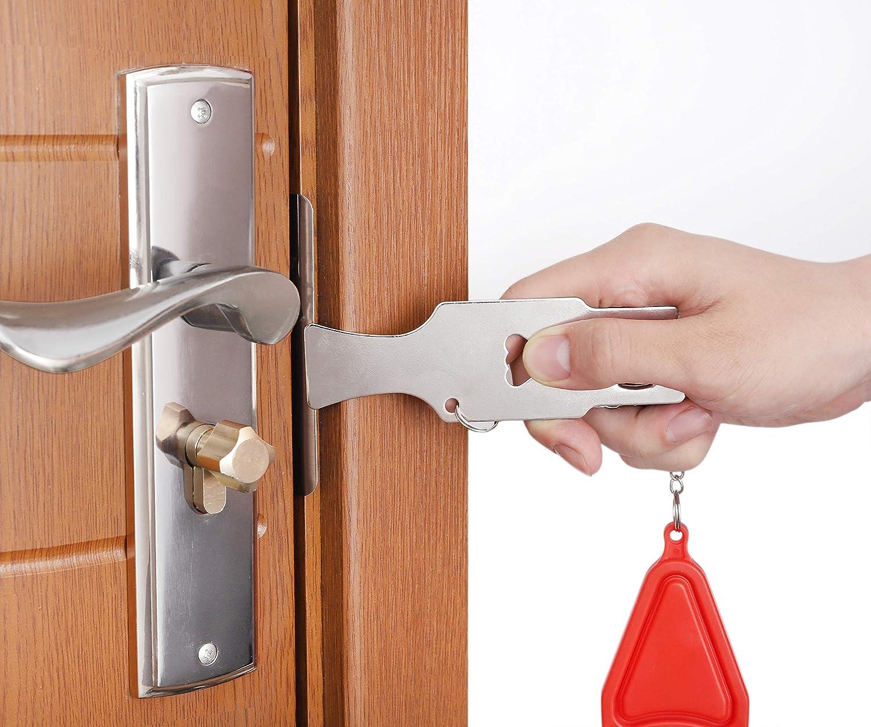 Cerradura de Puerta Port/átil 2 Piezas Viaje Bloqueo con Bolsa Agregue Seguridad Adicionales para Apartamento Hogar Hotel Escuela