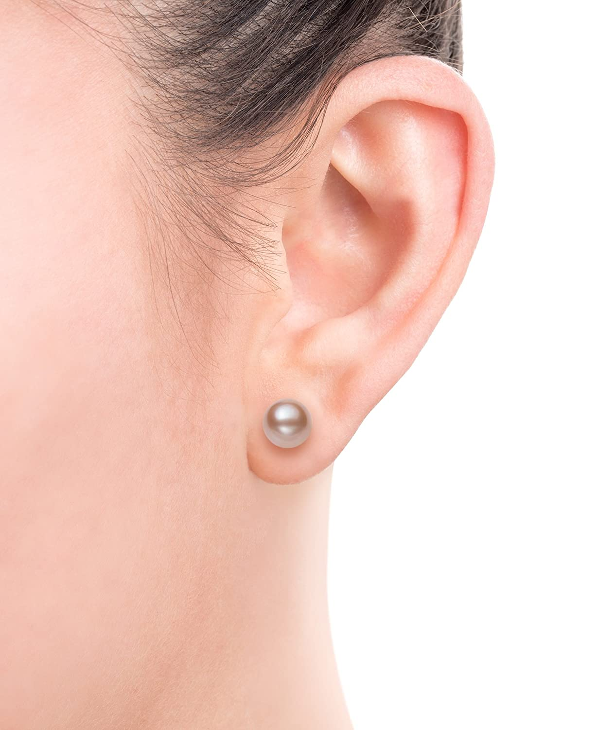 14K Gold AAA Quality Natural Pink Cultured Freshwater Pearl Stud Earrings