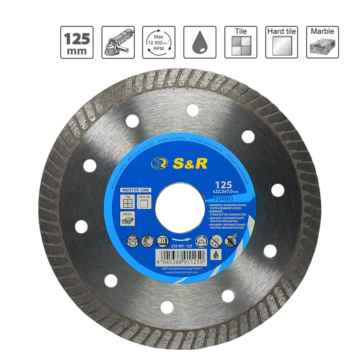 S/&R Diamond Blade // Diamond Cutting Disc 125 x 1.6 marble 5.5 Professional quality x 22.2 for cutting CERAMIC tiles hard ceramic limestone and other hard materials tiles granite