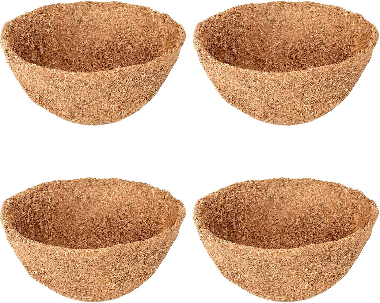 Halatool 4PCS 12 Inch Round Coco Liners Hanging Basket, 100% Natural Replacement Coconut Fiber Liner for Garden Flower Pot, Vegetables Herbs Pot