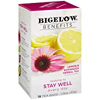 Bigelow Benefits Stay Well Lemon and Echinacea Caffeine-Free Herbal Tea, 18 Count (Pack of 6), 108 Tea Bags Total