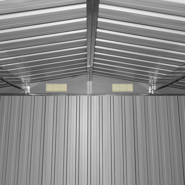 312x257x192 cm//Anthrazit ESTEXO Ger/äteschuppen Gartenhaus Schuppen Ger/ätehaus Metall Metallger/ätehaus mit Satteldach Fundament Schiebet/ür
