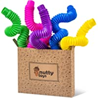 nutty toys Extra Large Pop Tube Sensory Toy 5 Pack - Fine Motor Skills for Toddlers, Kids & Adults - Best Boy Girl Tween…
